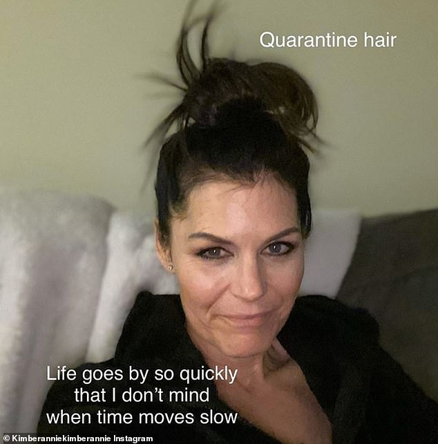 And Kimberly Annie posted a picture of her voluminous do, writing: 'Dare you to post your quarantine har'