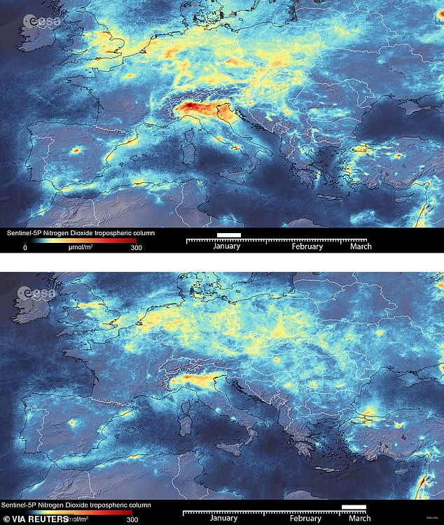 Satellite images of Europe show the drop in pollution. Top: Pollution levels in January, before countries started going into lockdown. Bottom: March 11, after many countries in Europe have locked down