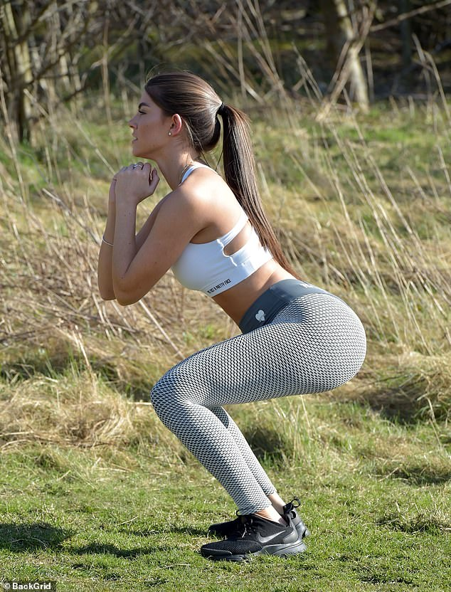 Making the most of it! The Love Island beauty, 21, followed Prime Minister Boris Johnson's guidelines, where Britons can leave their homes for one form of exercise a day, such as a run, walk, or cycle, as she enjoyed a scenic jog