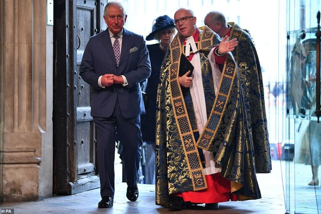 Charles with the Very Reverend Dr David Hoyle at the Westminster Abbey service on March 9