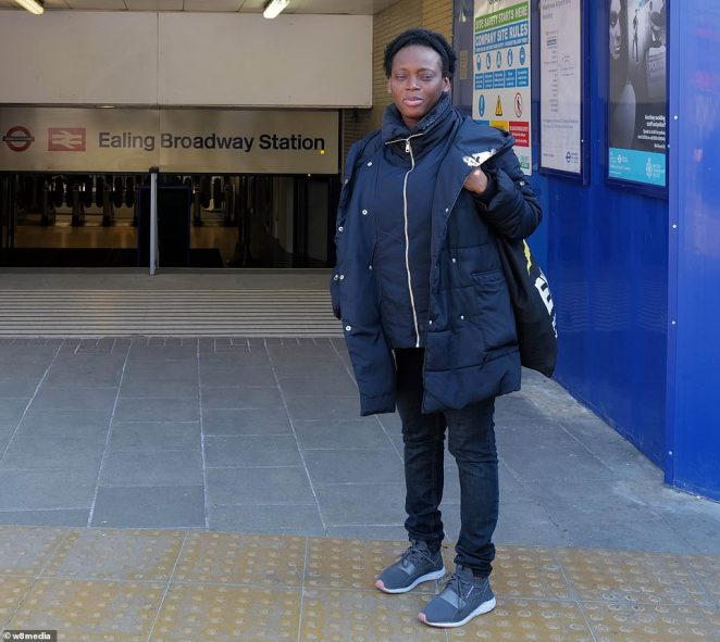 Mary Selassie, 42, is taking the underground from Ealing Broadway to Westminster, the closest station to St Thomas' hospital in South London where her son Elhan is being treated in a specialist intensive care unit after being born three months early