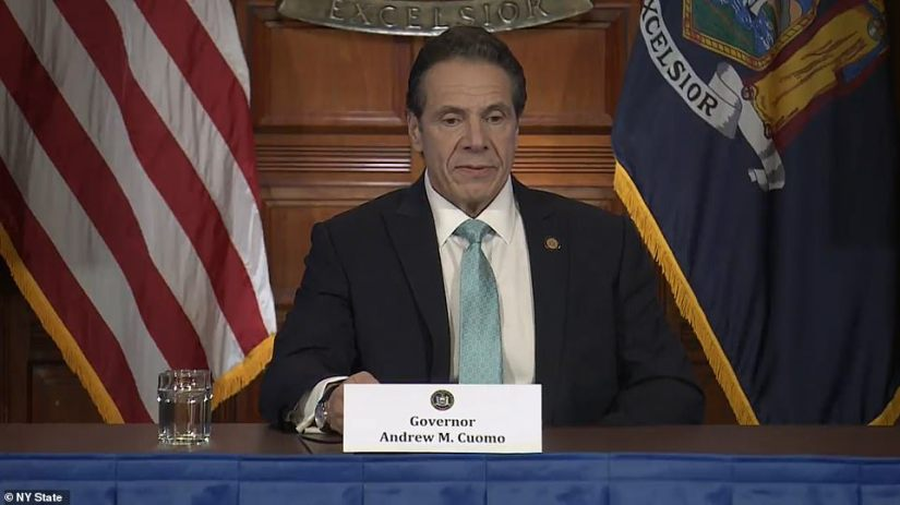 Gov. Andrew Cuomo on Wednesday giving an update on the coronavirus spread in New York where numbers are going up continuously but hospitalization projections are slowing down