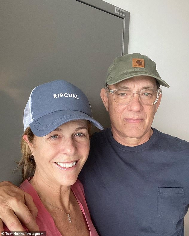 Pushing through: Wilson was in Australia with her husband, who was filming an Elvis Presley biopic (with Hanks playing Colonel Tom Parker), when they announced they were positive for COVID-19