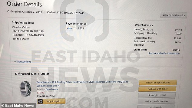 The East Idaho News obtained a receipt for the Amazon ring order (pictured). The name on the order was Charles Vallow - Lori's estranged husband who was shot dead by her brother Alex Cox three months earlier