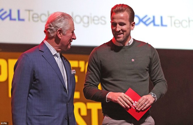Charles alongside footballer Harry Kane on stage at the annual Prince's Trust Awards 2020 held at the London Palladium on March 11