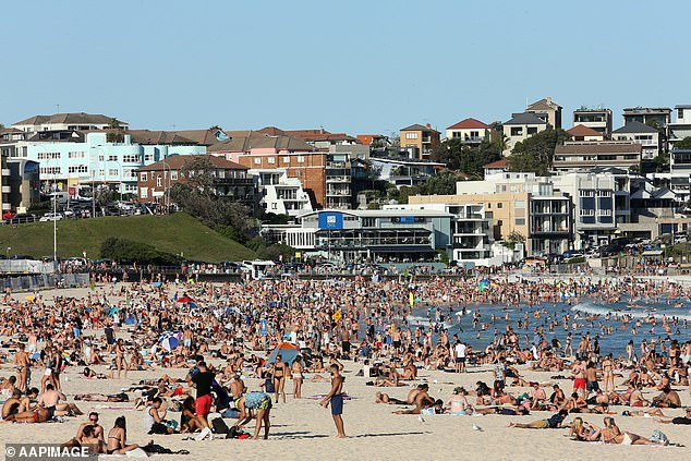 Several backpackers based in Bondi, in Sydney's east, tested positive to COVID-19 between Friday and Sunday. Pictured: thousands ignoring social distancing on Bondi Beach last Friday