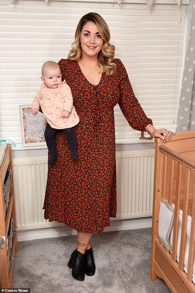 Jade said every bump in the road led her to motherhood and that she was extremely lucky for it to have been successful first time (pictured with Jade)