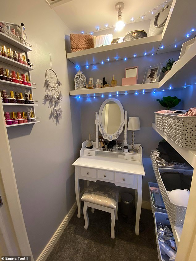 The DIY fan admitted she is chuffed with the turnout of the stylish dressing room, and added it's an extra bonus she no longer needs to keep going up and down the stairs. Pictured, after the transformation