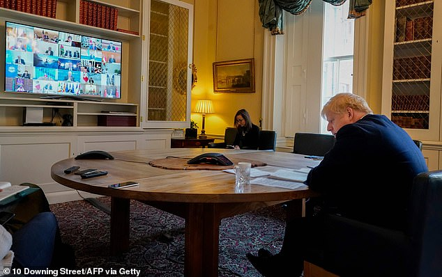 Boris Johnson took part in a video call with G20 leaders today as they struggle to coordinate the response to the crisis