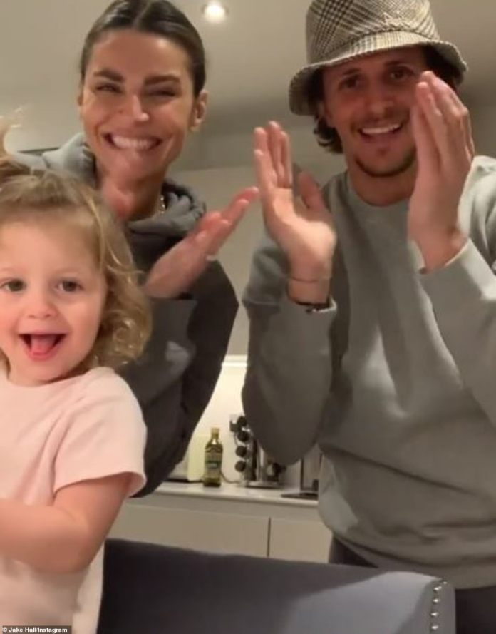 So cute: Jake Hall and girlfriend Missé Beqiri's launched into their own round of applause on social media along with their daughter River