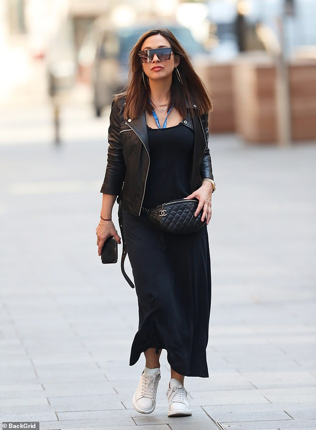 Fashionista:The former Hear'Say singer, 41, was stylish as she rocked a black maxi dress paired with a black leather jacket as she made her way into the building