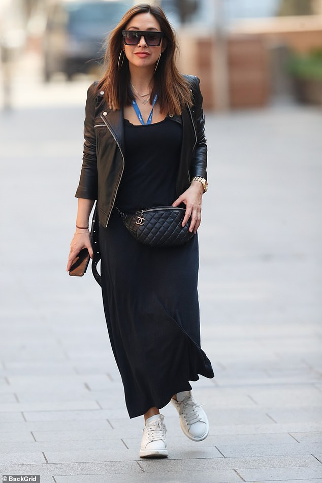 Walk that walk: Myleene looked relaxed and confident as she made her way through the streets of London