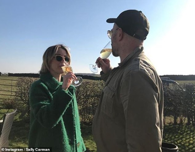 Cheers! Both Sally and Joe toasted their engagement in self-isolation