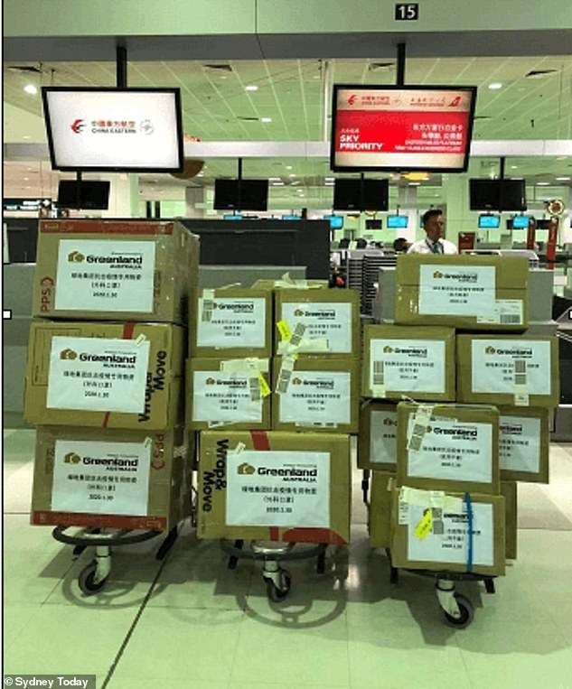 Chinese property giant Greenland shipped Australian medical supplies to Wuhan in January and February (pictured)