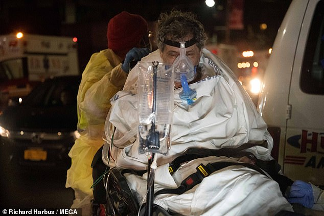 A Coronavirus patient on a ventilator is transferred from Elmhurst General Hospital to another hospital with more room as this hospital in New York