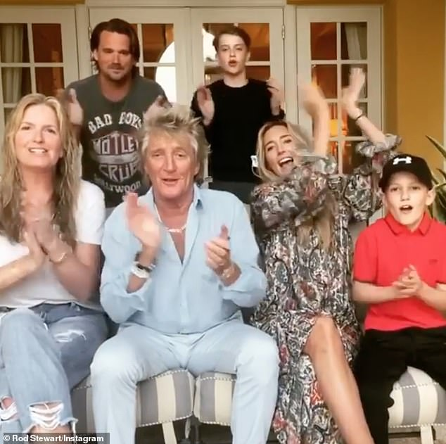 Applause:The Maggie May singer, 75, was joined by wife Penny Lancaster, sons – Aiden, nine, Alastair, 14, and Sean, 39, and daughter Ruby, 32, for the post