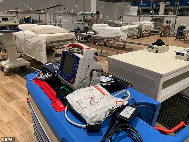 The number of deaths from Covid-19 in the past 24 hours is 832, it emerged this morning. Pictured: Field hospital in Madrid