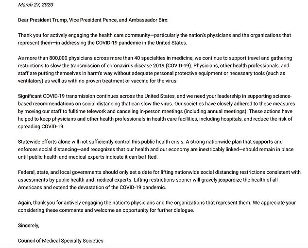 More than 800,000 physicians across the United States sent a letter to The White House, asking that they use scientific data in discussions about reopening the country
