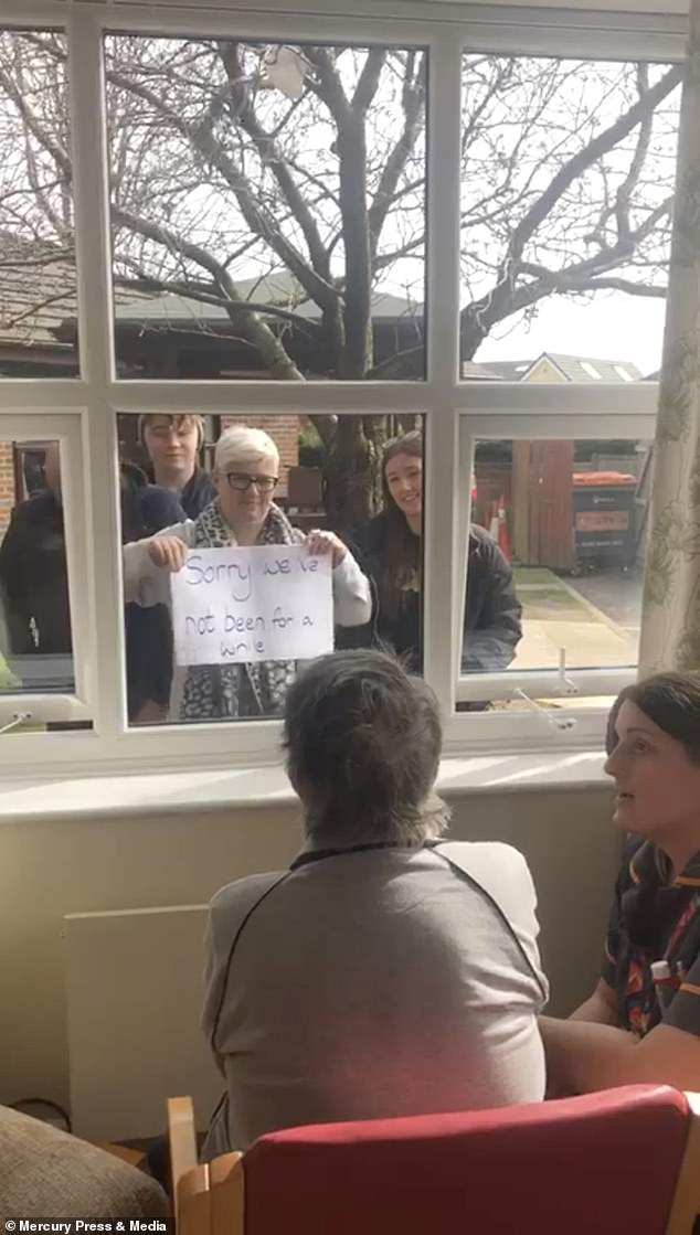 Joyce Giles, 84, is usually visited by Joanne Madden, 49, and her family a few times at week at her care home in Bolton, Greater Manchester