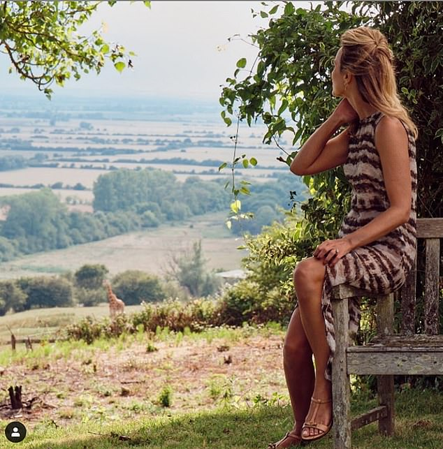 SAFARI AWAY: Conservationist Victoria Aspinall watches a giraffe – from more than the recommended 2m (6ft 6in) away – on her Port Lympne nature reserve in Kent