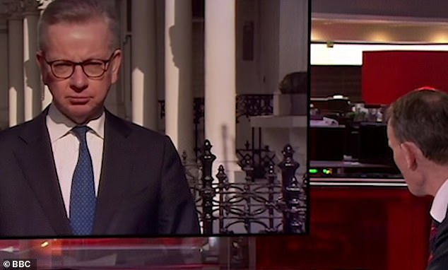Michael Gove had to stifle a cough during a live TV interview today with Andrew Marr