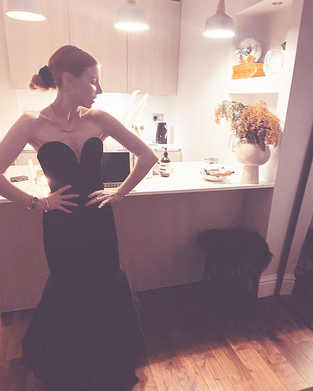 Stacey Dooley dressed in a black ball gown on Saturday night during the lockdown