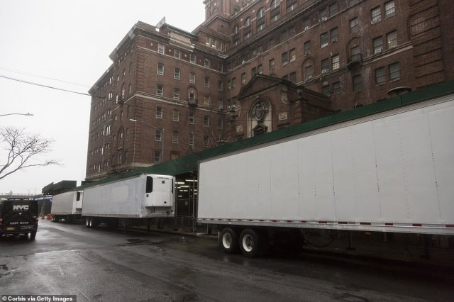 Makeshift morgue trailers sits alongside Bellevue Hospital Center in New York City on Sunday