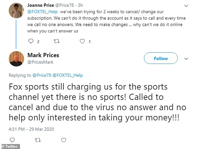 Hundreds of customers have taken to social media to slam Foxtel for not letting them downgrade their subscription after sport was cancelled across Australia