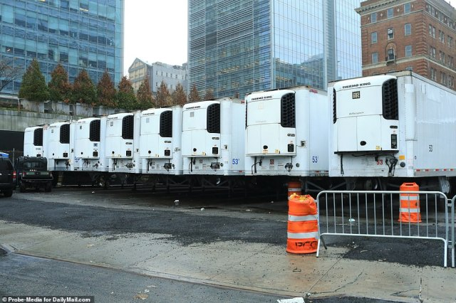 NYU Langone Hospital in Manhattan has 12 refrigeration trucks at its disposal. Eight of the trucks are seen above on Sunday