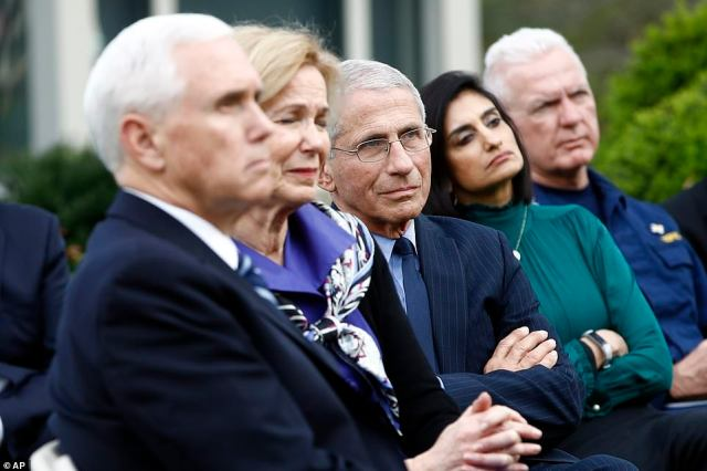 Members of the White House coronavirus task force are seen above on Sunday. From left: Vice President Mike Pence, Birx, Fauci, Centers for Medicare and Medicaid Services Director Seema Verma, and Admiral Brett Giroir, the assistant secretary of Health and Human Services
