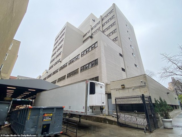 Hospital officials said that the makeshift morgues, like the one seen above outside Beth Israel Hospital in Manhattan, are intended for all patients, not just those infected with coronavirus