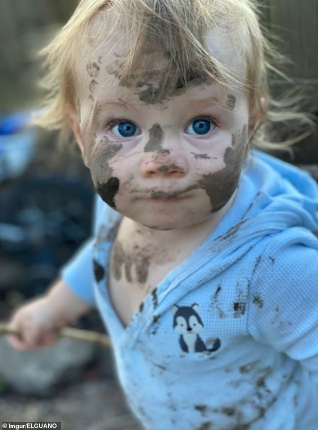 This parent, from an unknown location, said mud is 'good for the soul' as their toddler got stuck into the outdoors on the second day of quarantine