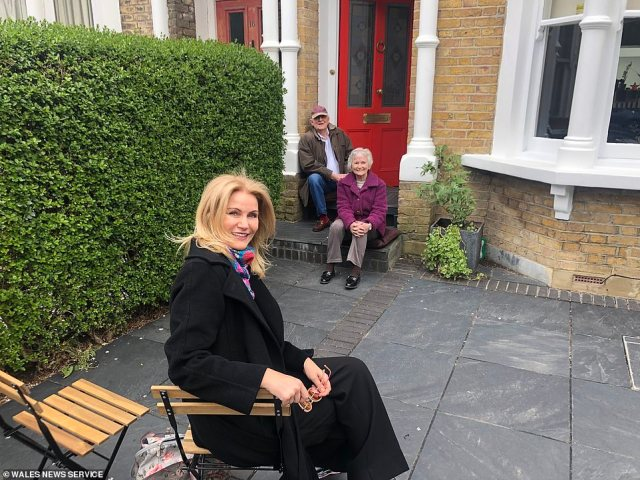 Pictured:Former labour leader Neil Kinnock is visited by his son Stephen Kinnock and his wife Helle Thorning-Schmidt on his 78th birthday