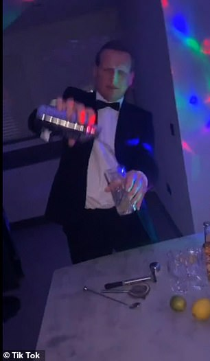Ellie Peaks' father dressed up in a tuxedo to act as a bouncer and a barman