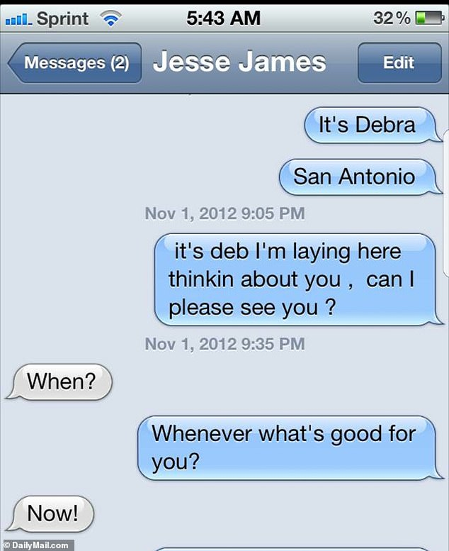 The friend said: 'Alexis feels humiliated and disrespected. Jesse has been cheating on her since they first met, it never stopped, she's only now realizing just how bad it was.' Pictured: Messages Jesse exchanged with a woman in 2012 - two months after meeting Alexis