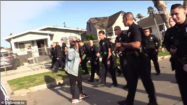 The LAPD were forced to disperse the child's birthday party as part of the state's crackdown on large gatherings to stem the infection rate of the coronavirus sweeping across the US