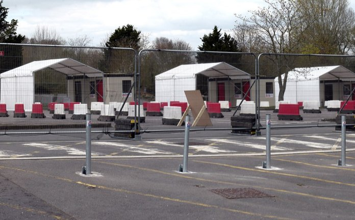 Pictured: The quiet and empty testing site at Chessington World of Adventures in south-west London this morning