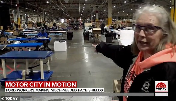 On Tuesday, Ford employee Pat Tucker took the Today Show inside the auto giant's million-square foot facility in Dearborn where she works 10 hours a day, seven days a week producing face shields for healthcare workers on the frontline of the coronavirus outbreak