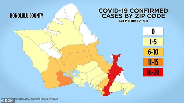 The number of confirmed coronavirus cases by zip code on the Oahu island as of 29 March. Oahu saw the state's first death from Covid-19, leaving Wyoming as the only state without