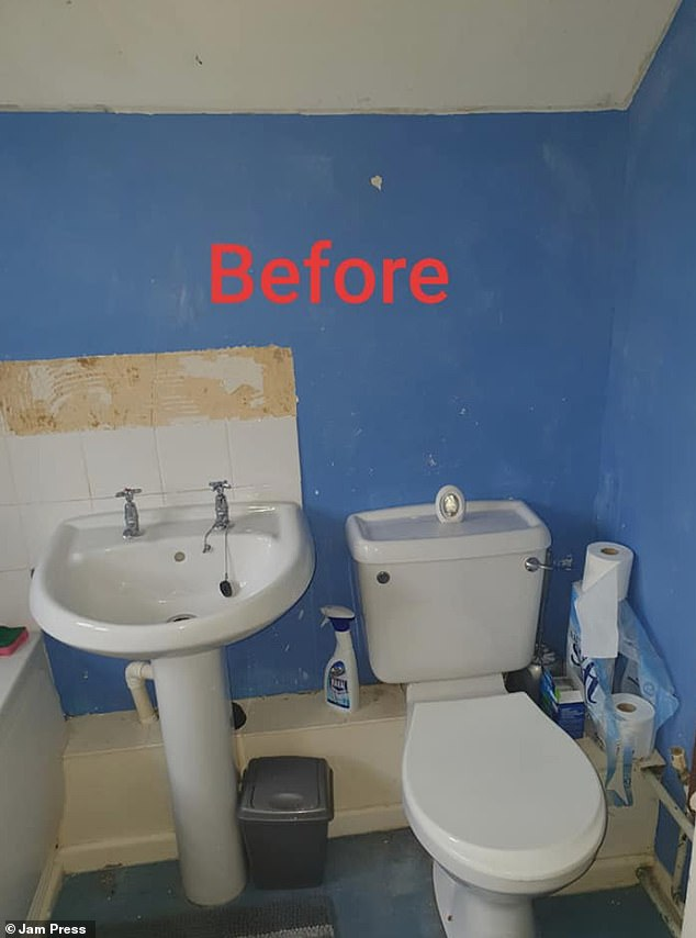 Victoria Tribe, 31, from Thatcham in Berkshire grew tired of her dull-looking bathroom and felt like it wasn't a place she could relax and take a bath after a long day, so redid it for £223 (pictured before)