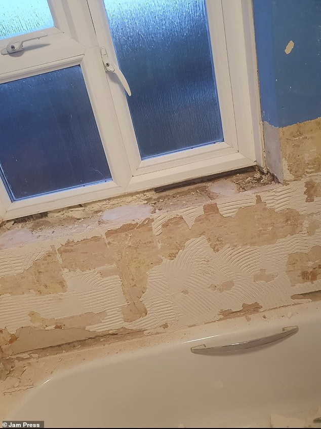 Victoria said she did most of the renovation work by herself, exceptcutting two tiles with a diamond cutter because she didn't feel confident using it (pictured during the renovations)