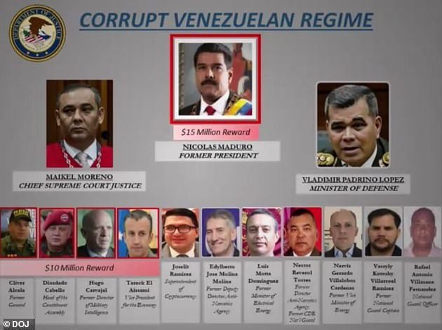 The US also offered a 10 million dollar prize leading to the arrest of three Maduro aides (lower left). Cliver Alcalá (first from left) turned to the DEA last Friday