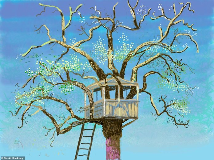 One of the paintings captures a tree house perched on top of a ladder, entwined amongst tendrils of branches from a winter tree going into blossom, as shown by bright white and green dots. Hockneyhas sketched apple, cherry, pear and plum trees