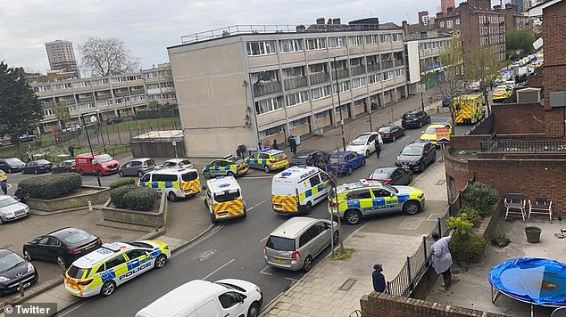 Police and paramedics were called to Dorset Road in Stockwell at 4pm today after concerns were raised for the welfare of a man (Pictured: Police at the scene)