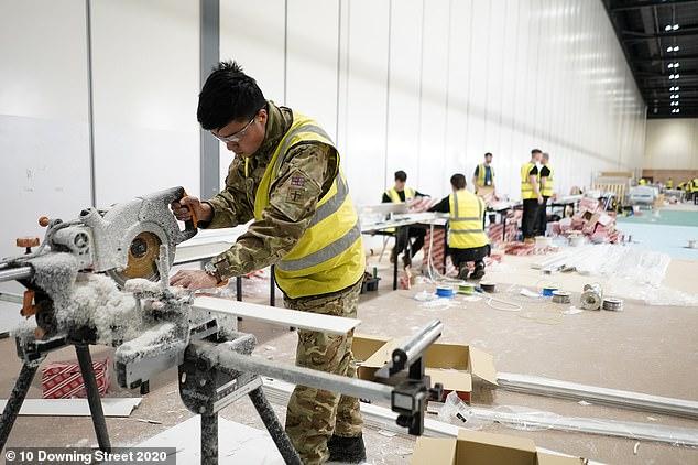 Members of the Queen's Gurkha Engineer Regiment, 36 Engineer Regiment as they help build the Nightingale Hospital