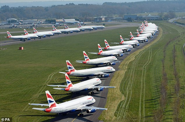 British Airways planes were parked at Bournemouth Airport after the airline suffered a massive drop in demand due to the coronavirus crisis