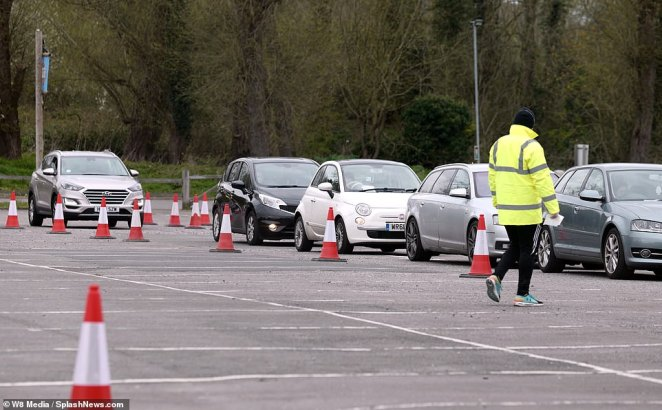 Queues built-up up outside the temporary drive-through station, which opened at 10am and began testing frontline workers at the weekend