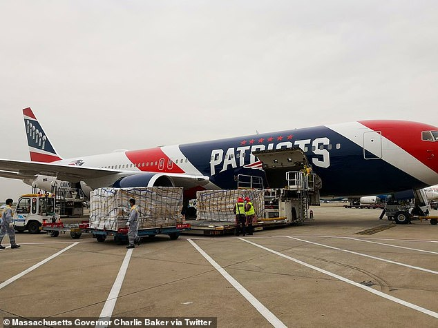 Patriots plane carries 1.2 million medical-grade masks from China to Boston Thursday after team owner Robert Kraft is said to have paid $ 2 million to replenish dwindling Massachusetts supplies during the coronavirus pandemic. Kraft covered half the cost of the much-needed N95 masks, which are flown from Shenzen, China (pictured) to Bosto Logan Airport, where they will be transported, according to a Wall Street Journal report. the National Guard towards a strategic stock in Marlboro, Massachusetts