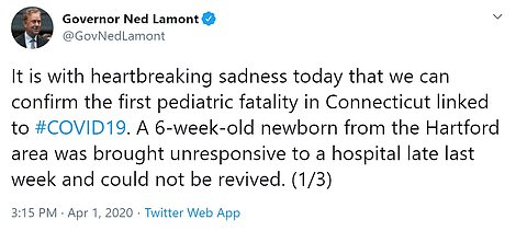 Connecticut Gov. Ned Lamont said a six-week-old baby has died from the virus, becoming the world's youngest fatality