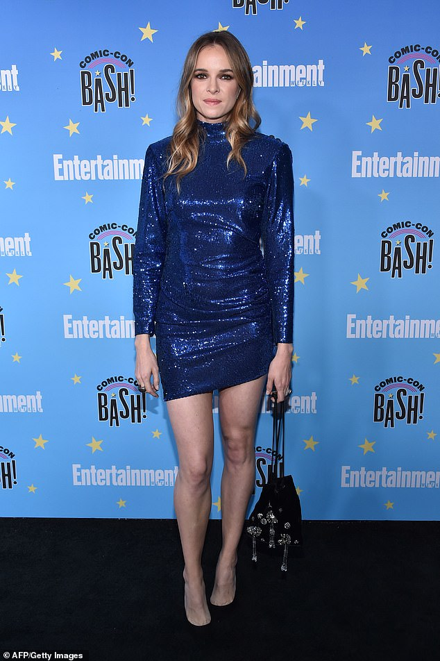 All dressed up: Here the Panabaker arrives for the annual Entertainment Weekly Comic Con party at the Hard Rock Hotel in San Diego in July